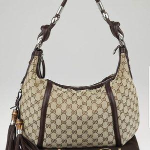 Authentic Gucci Techno Horsebit Medium Hobo Bag 24
